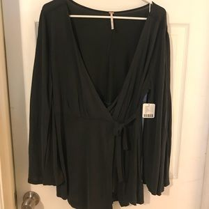 Free people Bell sleeve wrap blouse